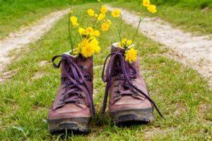 Afbeelding met wandelschoenen, gemaakt tijdens een tocht.