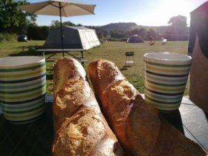 Afbeelding van het uitzicht vanuit een tent gezien. Gezellig met koffie en stokbrood.