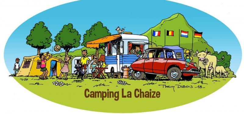 Logo van Camping la Chaize, gemaakt door Thierry Dubois, een bekende Franse illustrator.